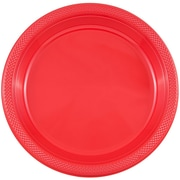 JAM Paper® Round Plastic Plates, Medium, 9 inch, Red, 200/box (9255320667b)