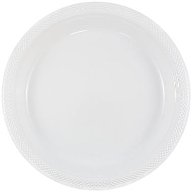 JAM Paper® Round Plastic Plates, Small, 7 inch, White, 200/box (7255320690b)