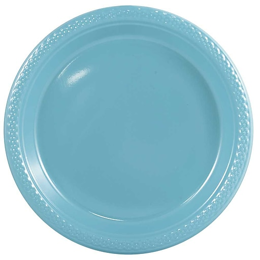 JAM Paper® Round Plastic Disposable Party Plates, Small, 7 Inch, Sea Blue, 200/Box (7255320668b)