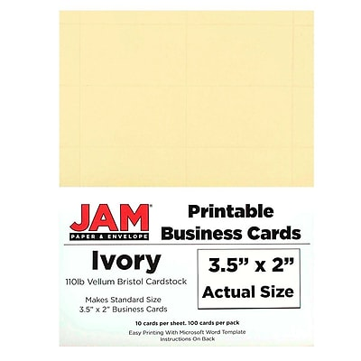 picture regarding Printable Vellum Paper known as JAM Paper® Printable Place of work Playing cards, 3 1/2 x 2, Ivory Vellum, 100/Pack (22130976)