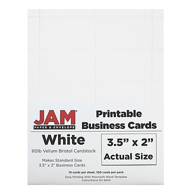 JAM Paper® Printable Business Cards, 2 x 3.5, White, 100/pack (22130975)
