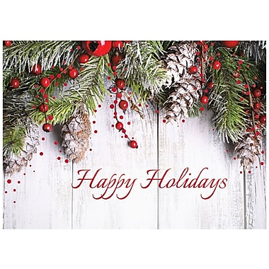 JAM Paper® Christmas Holiday Card Set, Happy Holidays, 25/pack (526M1009WB)