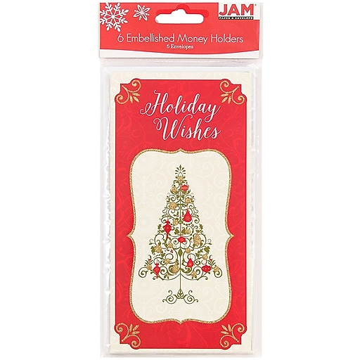 JAM Paper® Christmas Money Cards Set, Holiday Wishes Tree, 6/Pack (95231614)