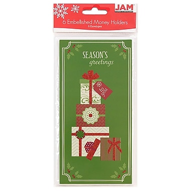 JAM Paper® Christmas Holiday Money Card Set, Seasons Greetings Gifts, 6/pack (95231613)