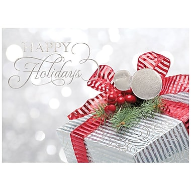 JAM Paper® Christmas Holiday Card Set, Silver Gift, 25/pack (526M1141WB)