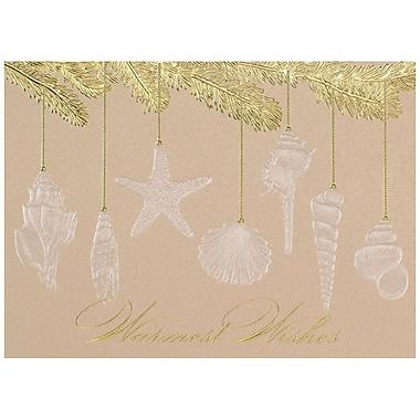 JAM Paper® Christmas Holiday Card Set, Seashell Ornaments, 25/pack (526M1321WB)