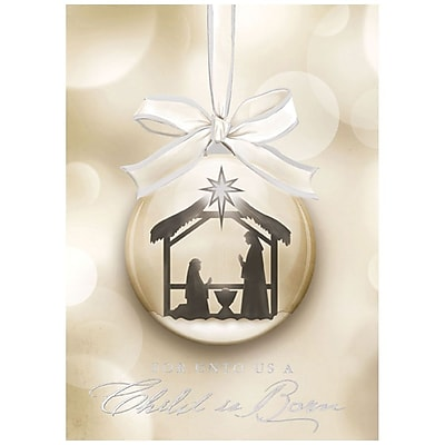 JAM Paper® Christmas Holiday Card Set, Religious Ornament, 25/pack (526M1108WB)