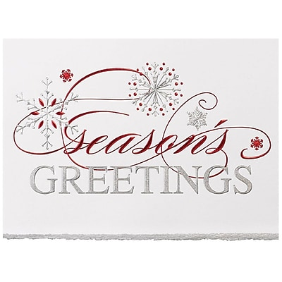 JAM Paper® Christmas Holiday Card Set, Snowflake Greeting, 25/pack (526M1158WB)