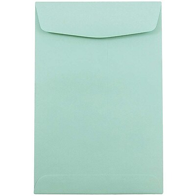 JAM Paper® 6 x 9 Open End Envelopes, Aqua, 100/pack (31287520f)