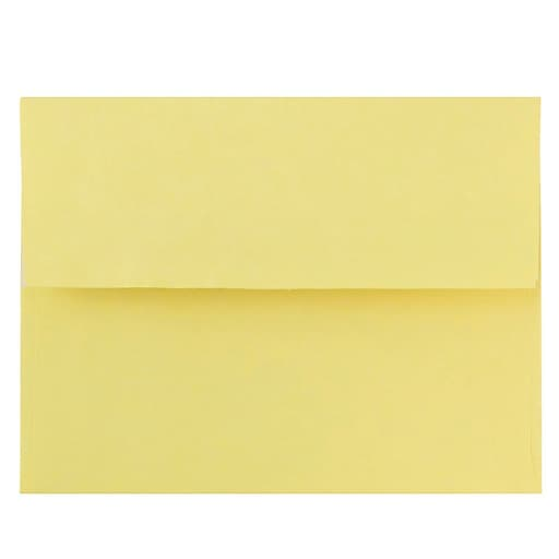 JAM Paper® A2 Colored Invitation Envelopes with Peel and Seal Closure, 4.375 x 5.75, Pastel Yellow, Bulk 1000/Carton (23132035)