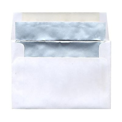 JAM Paper® 4 5/8 x 6 3/4 Foil Lined Envelopes, White with Silver Matte Lining, 25/pack (332411330)