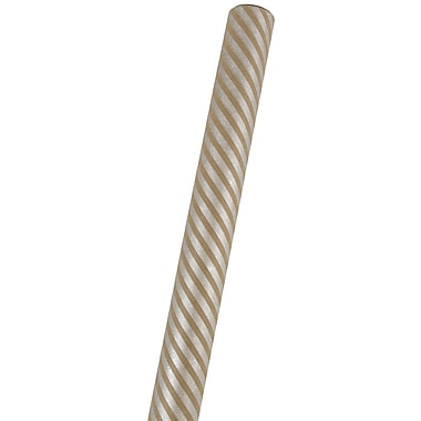 JAM Paper® Premium Kraft Wrapping Paper, 25 Sq Ft, Brown & Silver Stripe, Sold Individually (77432222)