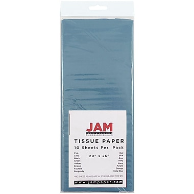 JAM Paper® Tissue Paper, Ocean Blue, 10/Pack