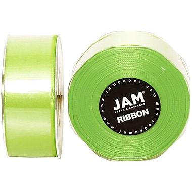 JAM Paper® Double Faced Satin Ribbon, 1.5 inch Wide x 25 yards, Lime Green, Sold Individually (808SAappgr25)