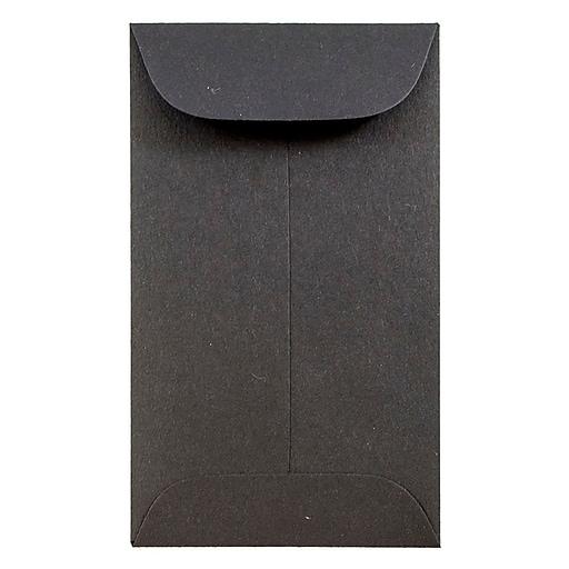 JAM Paper® #3 Coin Business Envelopes, 2.5 x 4.25, Black, 50/Pack (356730544i)