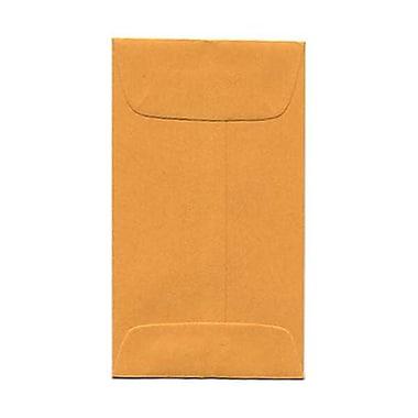 JAM Paper® #3 Coin Envelopes, 2.5 x 4.25, Brown Kraft, 50/pack (1623989i)
