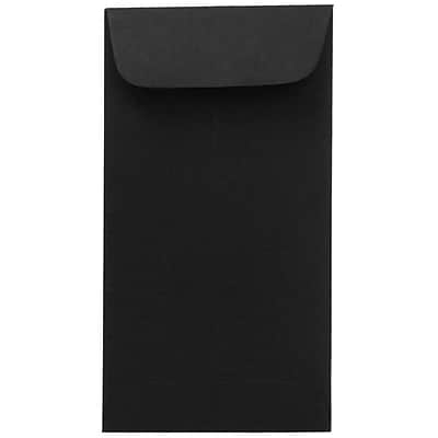 JAM Paper® #7 Coin Envelopes, 3.5 x 6.5, Black, #7 coin, 3 1/2 x 6 1/2, 50/pack (351027549i)
