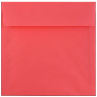 JAM Paper® 6.5 x 6.5 Square Envelopes, Watermelon Pink Translucent, 50/pack (241332376i)
