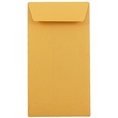 JAM Paper® #7 Coin Envelopes, 3.5 x 6.5, Brown Kraft, Brown Kraft, 50/pack (95125i)