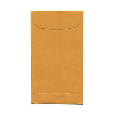 JAM Paper® #6 Coin Envelopes, 3 3/8 x 6, Brown Kraft, 50/pack (1623992i)