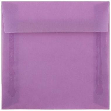 JAM Paper® 6.5 x 6.5 Square Envelopes, Lilac Purple Translucent, 250/box (241332378h)