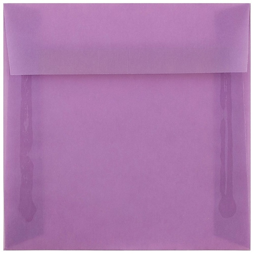 JAM Paper® 6.5 x 6.5 Square Translucent Vellum Invitation Envelopes, Lilac Purple, Bulk 250/Box (241332378h)