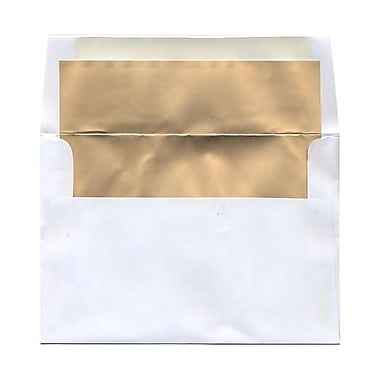 JAM Paper® Foil Lined Envelopes, 5 3/8 x 7 3/4 ,White with Gold Matte Lining, 25/pack (332411339)