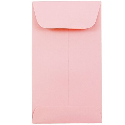 JAM Paper® #6 Coin Envelopes, 3 3/8 x 6, Baby Pink, 50/pack (356730562i)