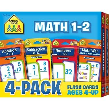 School Zone - Cartes-éclairs de mathématiques, 1re à 2e année, 4/paquet (SZP04046)