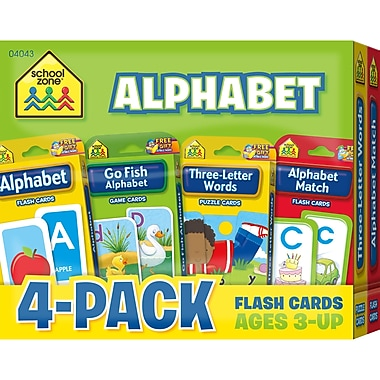 School Zone Alphabet Flash Card, 4/Pack (SZP04043)