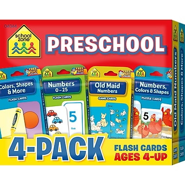 School Zone Preschool Flash Card, 4/Pack (SZP04044)