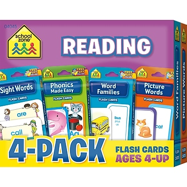 School Zone Reading Flash Card, 4/Pack (SZP04045)