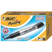 BIC Marking Permanent Marker, Chisel Point, Black, Dozen (GPMM11-BLK)