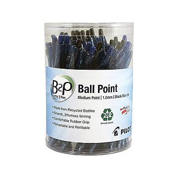 Pilot B2P Bottle 2 Pen Retractable Ballpoint Pens, Medium Point, Assorted Ink, 36/Pack (57050)