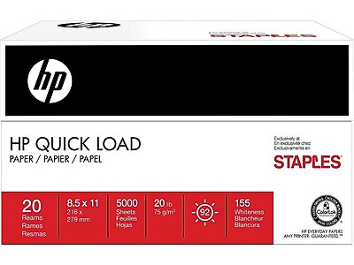 """HP® Quick Load Paper, 8 1/2"""" x 11"""", 250 Sheet Half Reams, 20 Half Reams/Carton"""