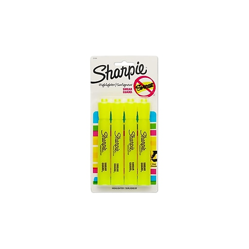 Sharpie Tank Highlighter, Chisel, Yellow, 4/Pack (25164)
