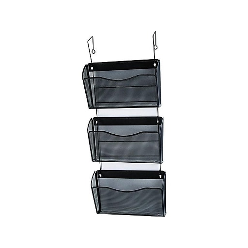 Rolodex 174 Expressions Black Wire Mesh 3 Pocket Hanging