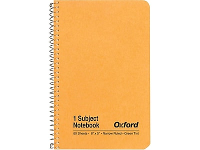 "Oxford 1-Subject Notebook, 5"" x 8"", Narrow Ruled, 80 Sheets, Kraft (OXF 25-401R)"