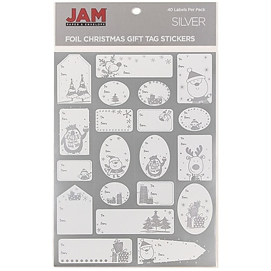 JAM Paper® Christmas Gift Tag To From Holiday Stickers, Silver Matte Foil, 40/Pack