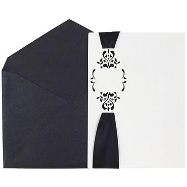 JAM Paper Wedding Invitations, Large, 5.5 x 7.75, White Floral Cards w/ Black Ribbon & Black Luster Env, 50/pack (5268861bl)