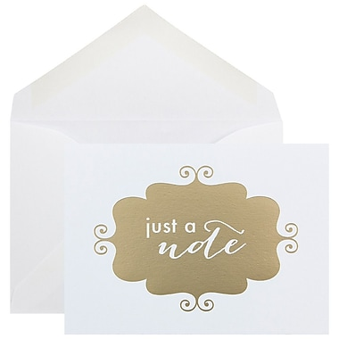 JAM Paper® Thank You Cards Set, Just a Note, Gold Banner, 10/pack (D41115NGLMB)