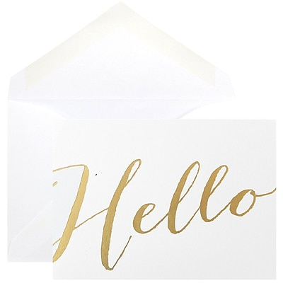 JAM Paper® Thank You Cards Set, Hello Greeting, White with Gold Script, 10/pack (D41113NGLMB)