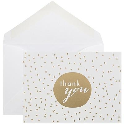 JAM Paper® Thank You Cards Set, Gold Tiny Dot ,10/pack (D41111TYGLMB)