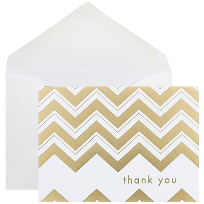 JAM Paper® Thank You Cards Set, Gold Chevron Stripe, 10/pack (D41114TYGLMB)