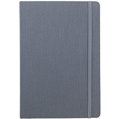 JAM Paper® Premium Fabric Textured Hardcover Journal with Elastic Closure, 6 x 8 1/2, Grey, Sold Individually (325Fa6x8gy)