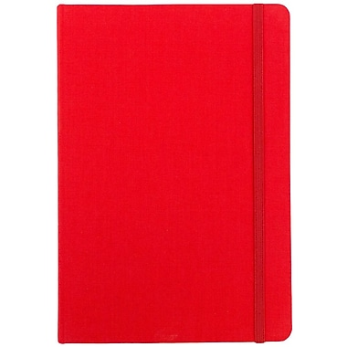 JAM Paper® Premium Fabric Textured Hardcover Journal with Elastic Closure, 6 x 8 1/2, Red, Sold Individually (325Fa6x8re)