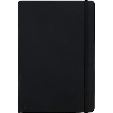 JAM Paper® Premium Fabric Textured Hardcover Journal with Elastic Closure, 6 x 8 1/2, Black, Sold Individually (325Fa6x8bl)