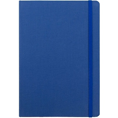 JAM Paper® Premium Fabric Textured Hardcover Journal with Elastic Closure, 6 x 8 1/2, Blue, Sold Individually (325Fa6x8bu)