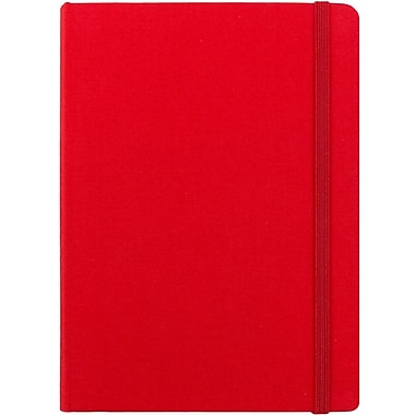 JAM Paper® Premium Fabric Textured Hardcover Journal with Elastic Closure, 5 x 7, Red, Sold Individually (325Fa5x7re)