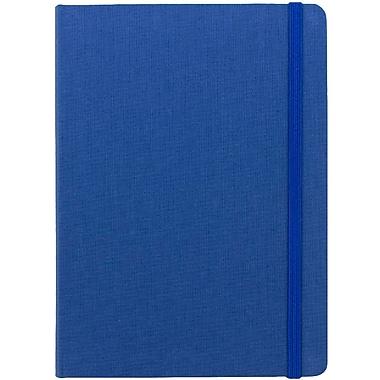 JAM Paper® Premium Fabric Textured Hardcover Journal with Elastic Closure, 5 x 7, Blue, Sold Individually (325Fa5x7bu)